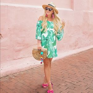Dresses & Skirts - Palm print off the shoulder dress